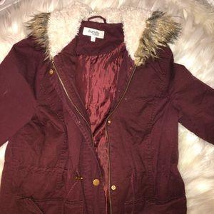 Women's Burgundy Jacket With Fur Hood